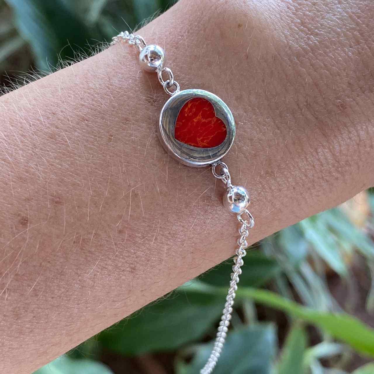 Pulseira de Prata 925 Bolinha Detalhes Coração Coral 20cm