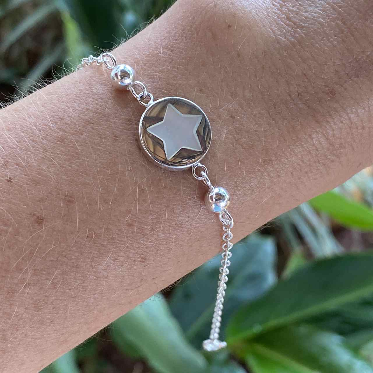Pulseira de Prata 925 Bolinha e Estrela em Madrepérola 20cm