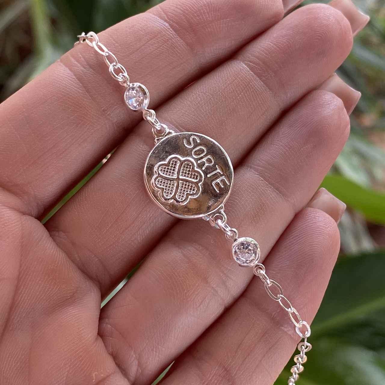 Pulseira de Prata 925 Medalha Sorte com Trevo Cristal 19cm