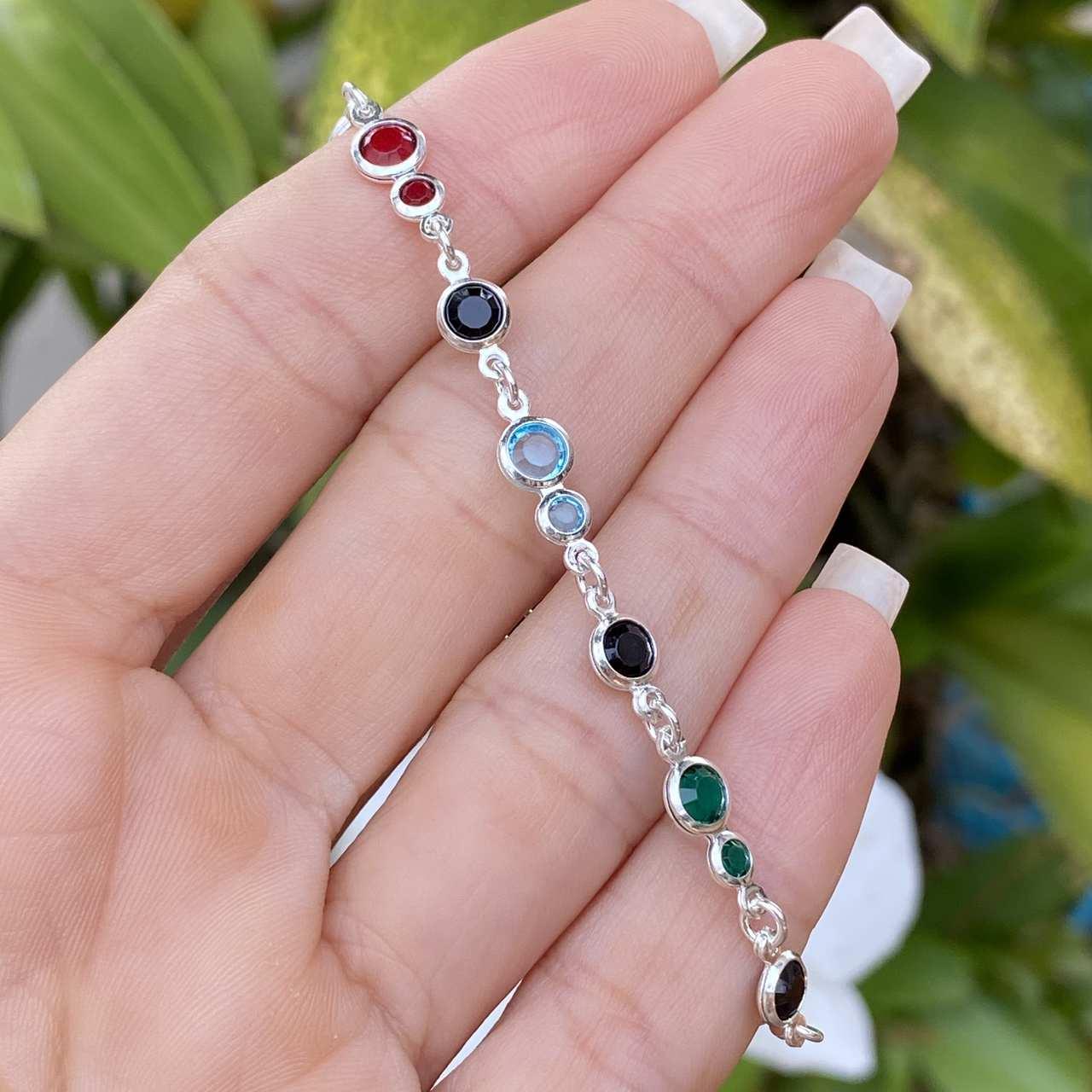 Pulseira de Prata 925 Multicolorida 18cm
