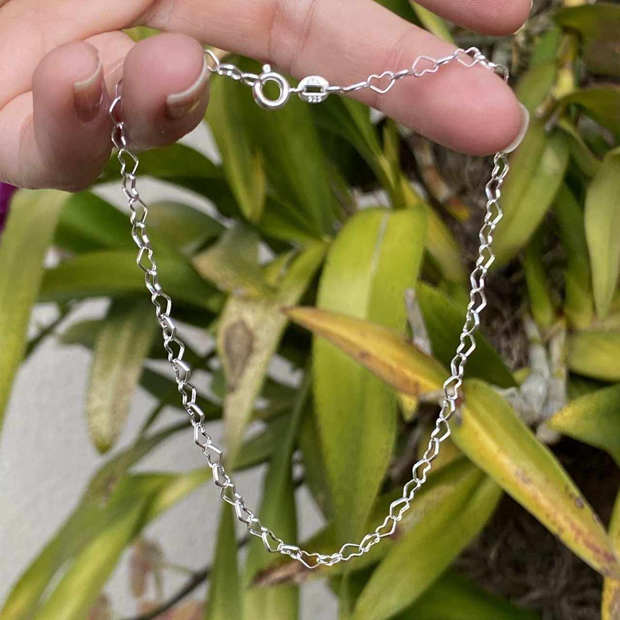 Tornozeleira de Prata 925 Corrente de Coração 24cm