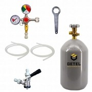 Kit Extração De Chope - 1 Via - Conexão Engate Rapido + Cilindro CO2 03 Kg