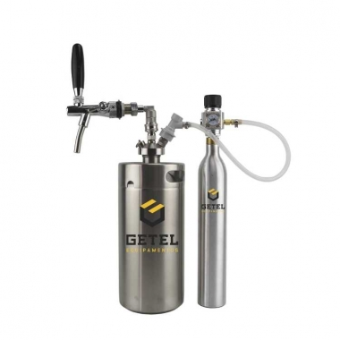 Kit Mini-Keg c/ Tampa Ball-Lock Inox + Torneira Italiana + Cilindro - 3,6 Litros