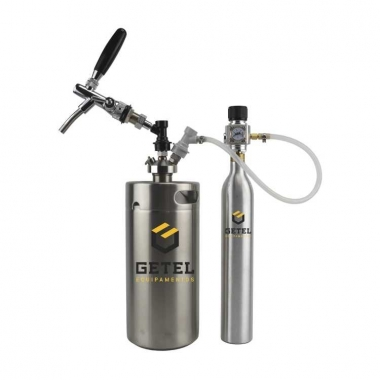 Kit Mini-Keg c/ Tampa Ball-Lock + Torneira Italiana + Cilindro - 3,6 Litros