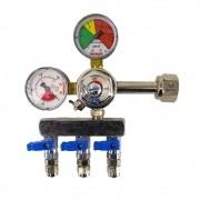 Regulador de Pressão CO2 (Reman - 3 Saídas) - Válvula esfera