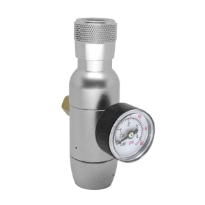 """Mini-Reguladora de CO2 com Manômetro - Rosca 3/8"""" para cilindros de 16/32g"""