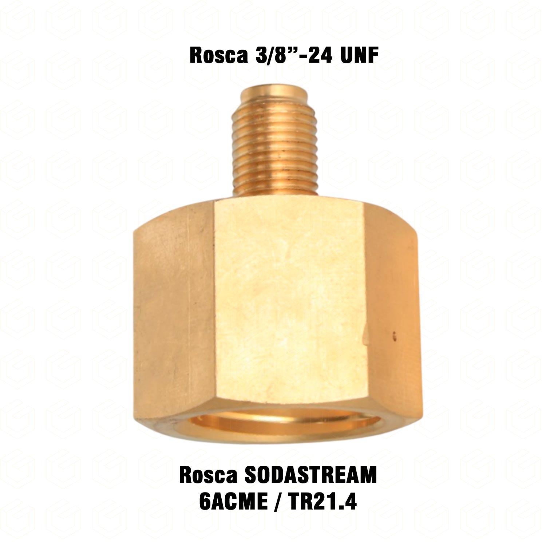 Adaptador - Redução - Rosca  Fêmea SodaStream 6ACME x Rosca Macho 3/8-24 UNF