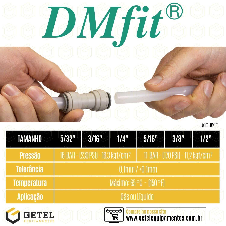 """DMFIT - União - (Reto - Tubo 3/8"""" x Tubo 1/4"""") - AUC 0604 - Pacote 10 Unidades"""