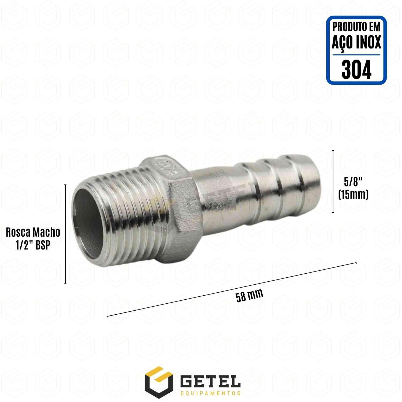 """Espigão 5/8"""" (15 mm) x Rosca Macho 1/2"""" BSP - Aço Inox 304"""