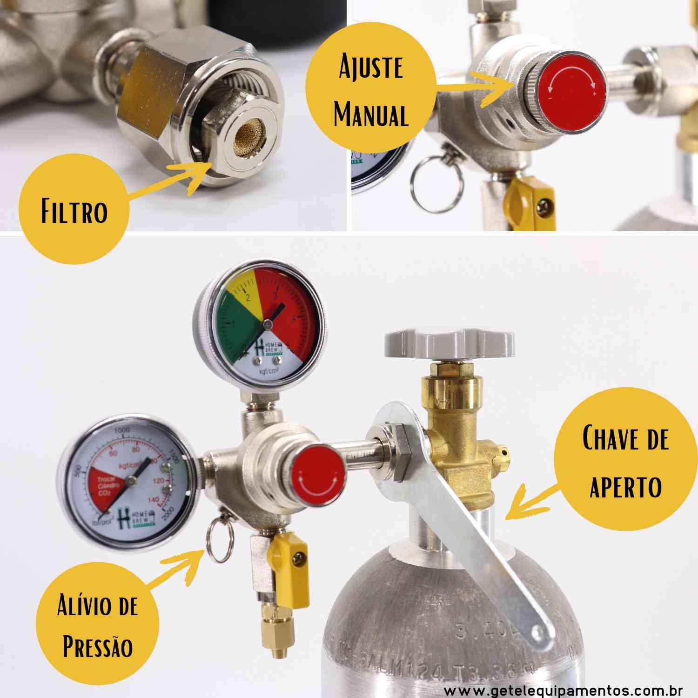Kit Cilindro CO2 03 Kg + Regulador Saída Dupla