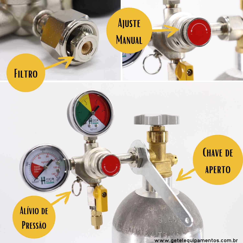 Kit Cilindro CO2 06 Kg + Regulador Saída Dupla