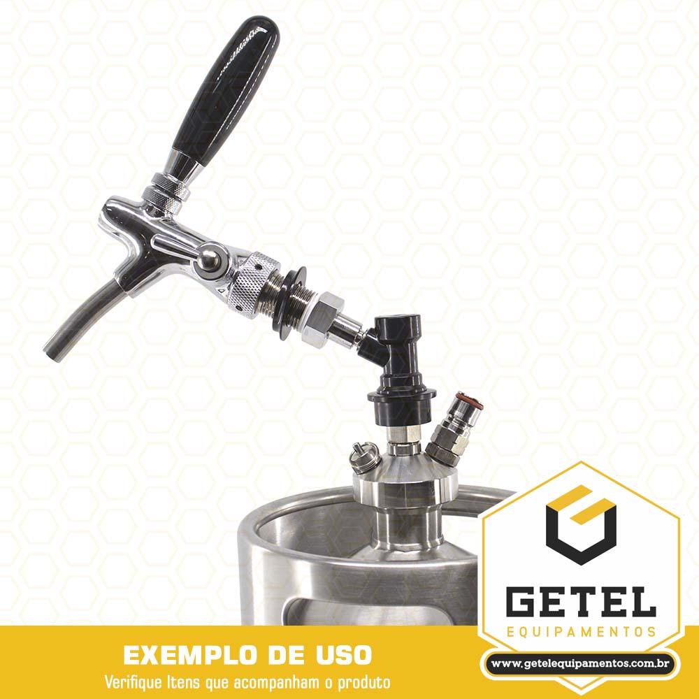 Kit Mini-Keg c/ Tampa Ball-Lock Controle de Fluxo + Torneira Italiana + Cilindro - 10 Litros