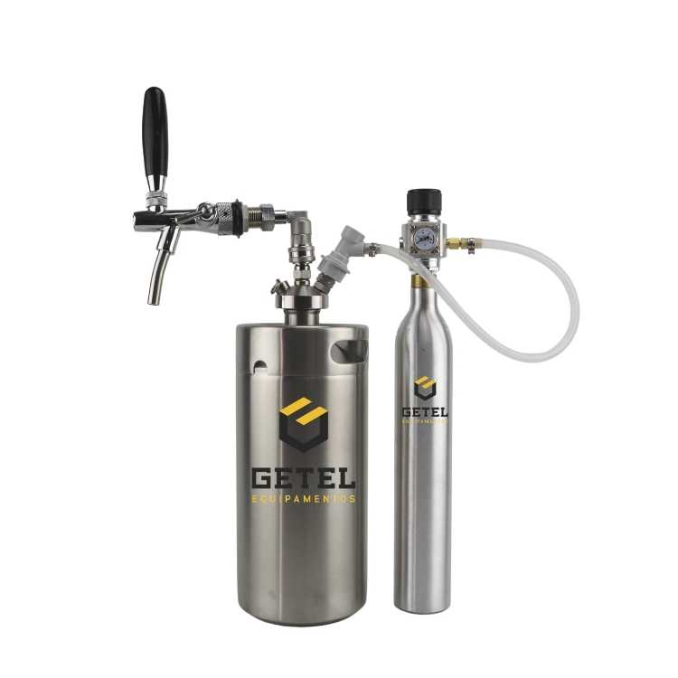 Kit Mini-Keg c/ Tampa Ball-Lock Inox + Torneira Italiana + Cilindro - 3,6 Litros