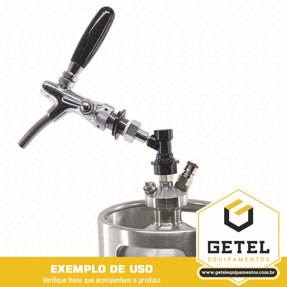 Kit Mini-Keg c/ Tampa Ball-Lock + Torneira Italiana + Cilindro - 10 Litros