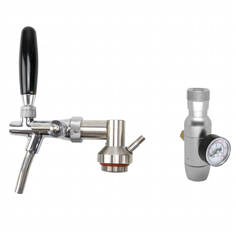 Kit - Tampa para Growler c/ Torneira Italiana + Mini-Reguladora CO2