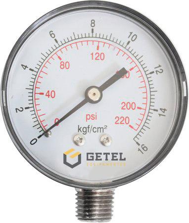 """Manômetro 1/4"""" para Nitrogênio - Latão - 62mm - 0/16 kgf/cm2"""