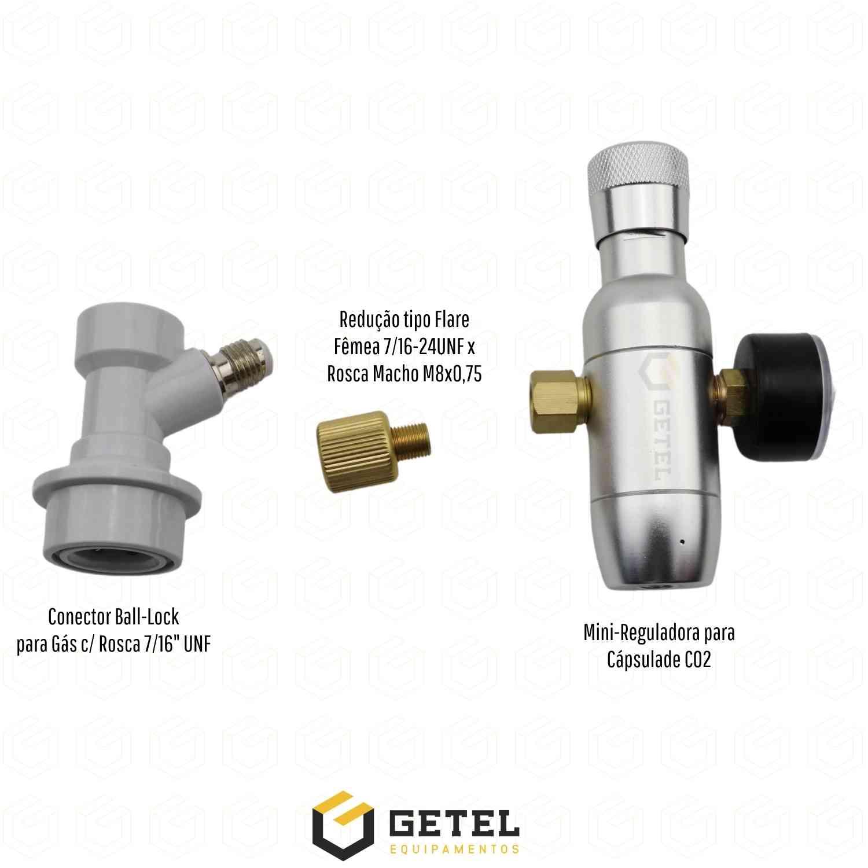 Mini-Reguladora de CO2 com Manômetro + Ball-Lock de Gás