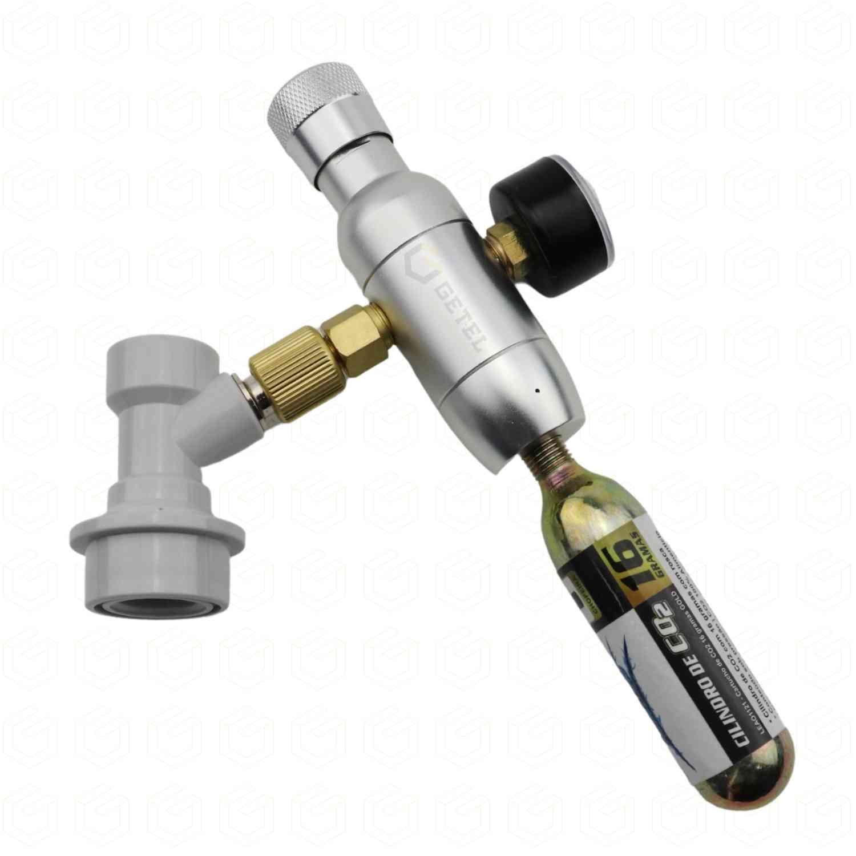 Mini-Reguladora de CO2 com Manômetro + Ball-Lock de Gás + Cápsula CO2
