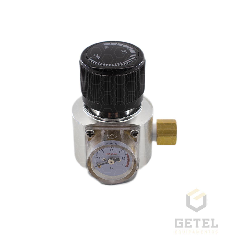 """Mini-Reguladora Profissional de CO2 com manômetro, para cilindros de 16/32G (rosca 3/8"""")"""