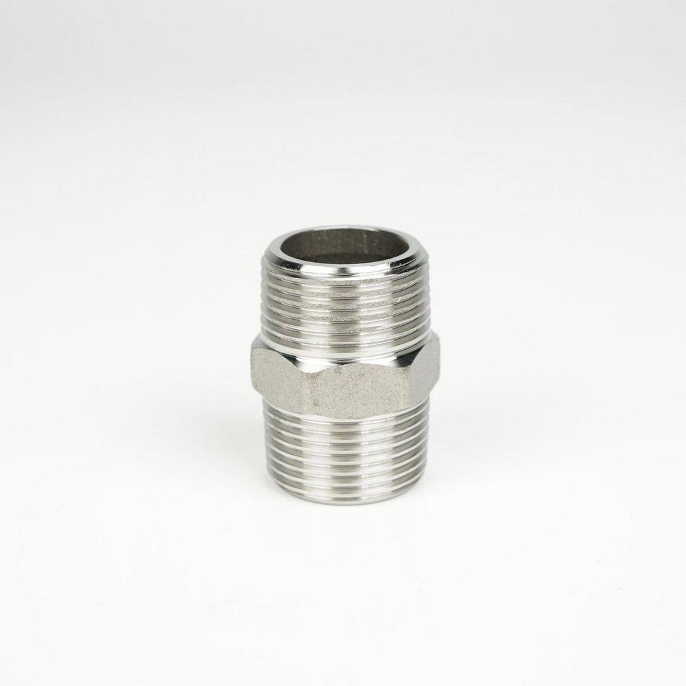 "Niple Sextavado - Rosca Macho 3/4"" BSP x Rosca Macho 3/4"" BSP - Aço Inox 304"