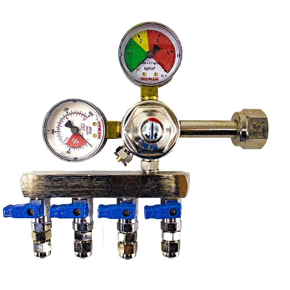 Regulador de Pressão CO2 (Reman - 4 Saídas) - Válvula esfera