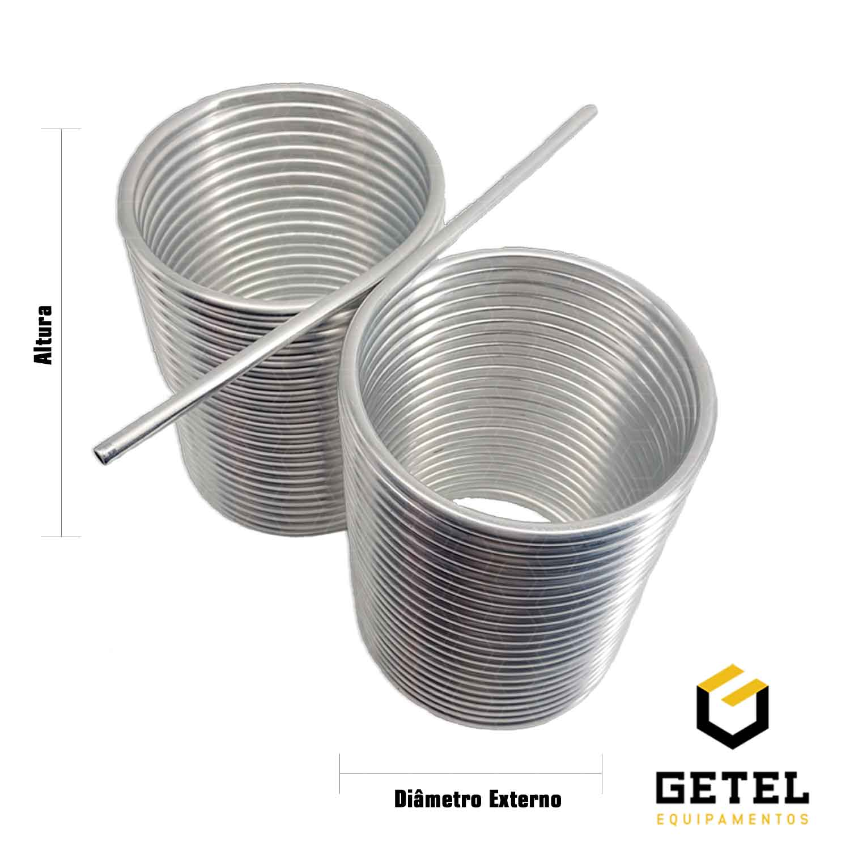 "Serpentina para Chopeira - Alumínio 3/8"" - Espiral Duplo Lado a Lado"