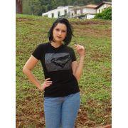 Camiseta preta com estampa de pássro
