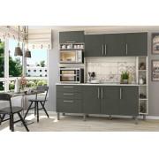 Cozinha Compacta Carol Nebraska/Chumbo com 7 Portas e 3 Gavetas