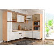 Cozinha de Canto 8 Peças Sevilha Amêndoa/ Branca