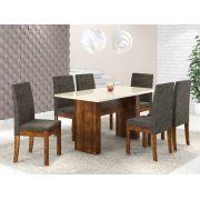 Mesa Com 6 Cadeiras Sonetto Urca Rústico Off White
