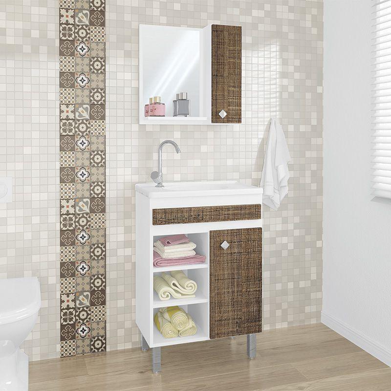 Conjunto Balcão de Banheiro 55cm Siena Belizze