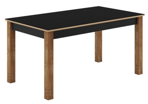Conjunto Mesa Sonetto Julia com 6 Cadeiras Julia Preta Tampo de Vidro 160X90cm – Nogal /Preto