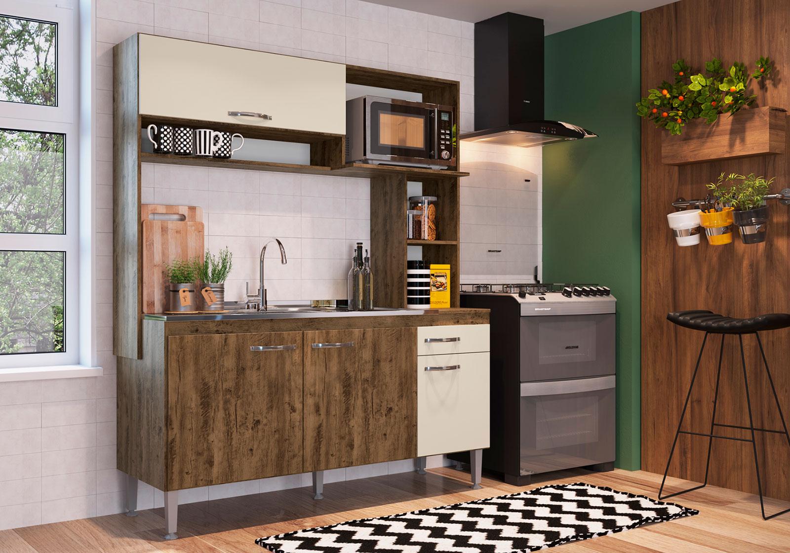 Cozinha Compacta IRM Cassia 4 Portas e 1 Gaveta Itaúba