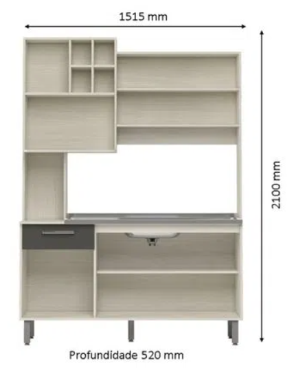 Cozinha Compacta Jaeli Bia Nebraska/Chumbo J-68 com 5 Portas e 1 Gaveta