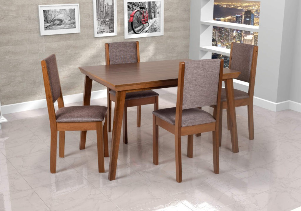 Mesa Cella Com 6 cadeiras  Imbuia 155 x 90cm
