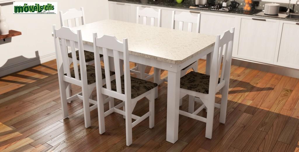Mesa Cris Veneza 6 Cadeiras Branco