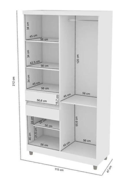 Roupeiro Araplac 6 Portas e 2 Gavetas 1160 Branco/Flex