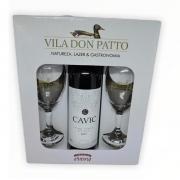 Kit Cavic Vinho Tinto Meio Seco 750ml e duas taças.