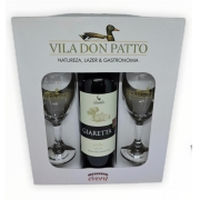 Kit Vinho Fino Tinto Seco Merlot 750ml e duas taças.