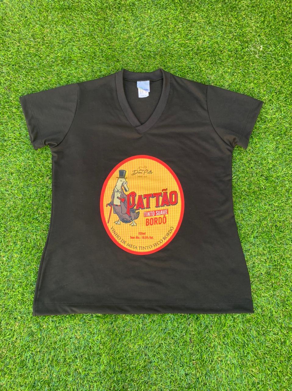 Camiseta Preta Pattão Feminina  - Empório Don Patto