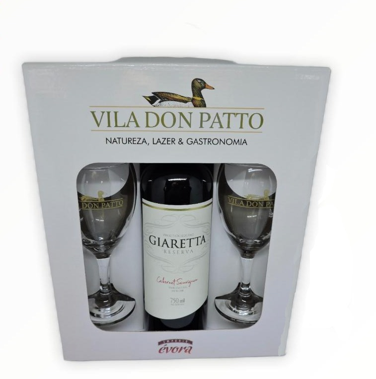 Kit Cabernet Sauvignon 750ml com duas taças.  - Empório Don Patto