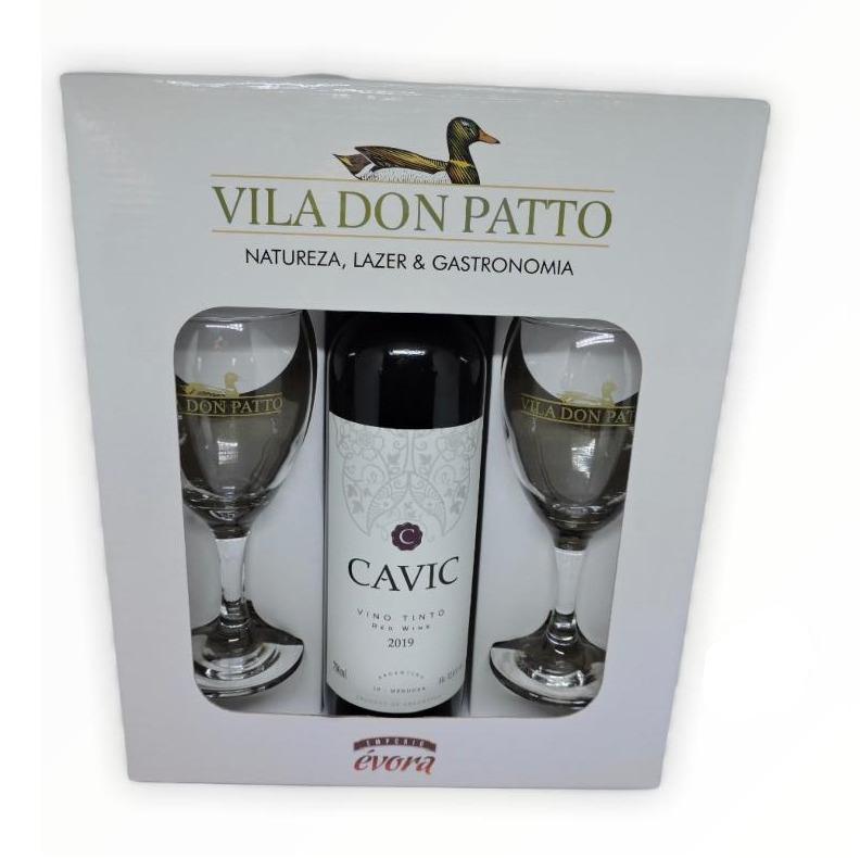 Kit Cavic Vinho Tinto Meio Seco 750ml e duas taças.  - Empório Don Patto
