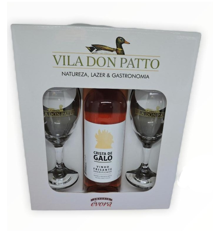 Kit Crista de Galo Rose 750ml e duas taças.  - Empório Don Patto