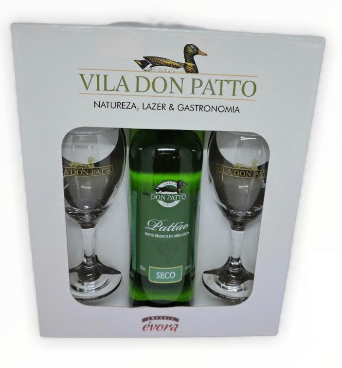 Kit Vinho branco de mesa seco 750ml e duas taças.  - Empório Don Patto