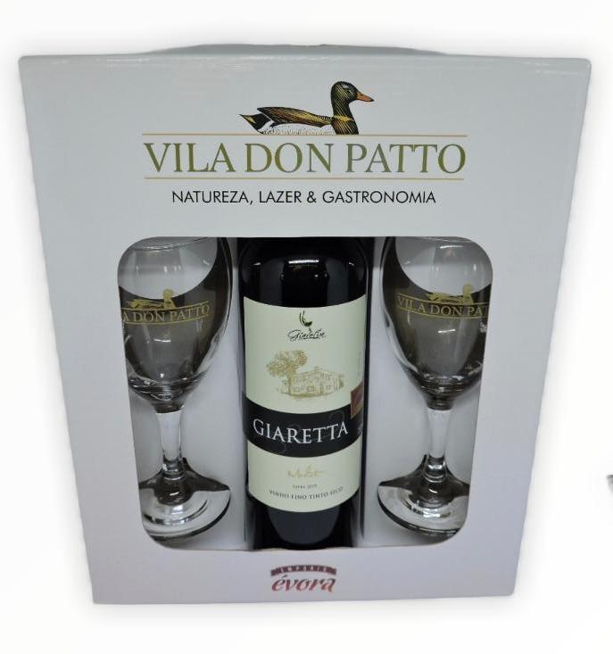 Kit Vinho Fino Tinto Seco Merlot 750ml e duas taças.  - Empório Don Patto