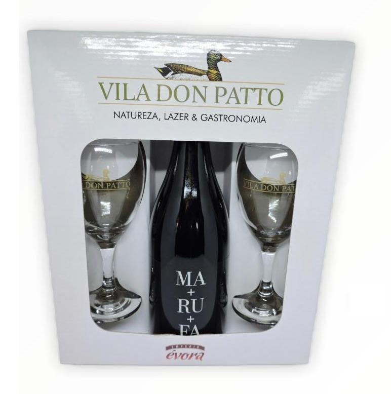 Kit Vinho Tinto Seco Fino MA+RU+FA 750ml e duas taças.  - Empório Don Patto