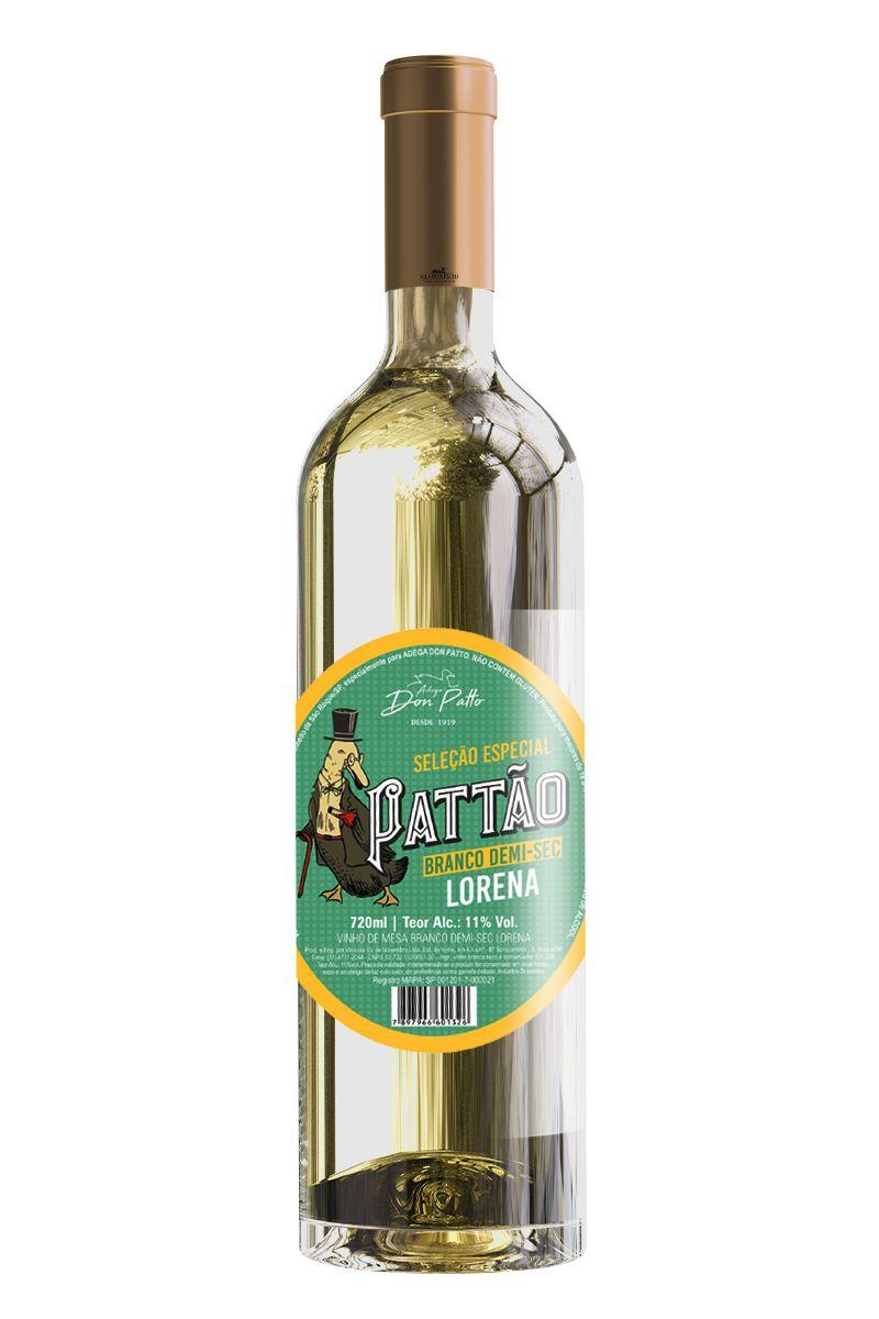 Vinho Pattão Branco de Mesa Demi-sec Lorena 720ml  - Empório Don Patto