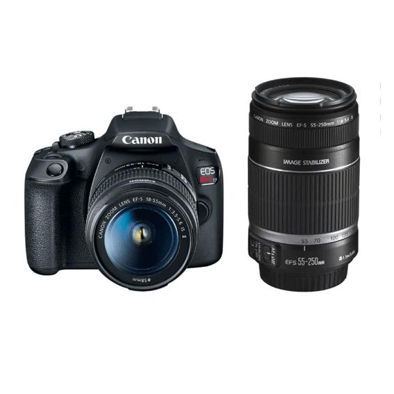 Câmera Canon EOS Rebel T7+ com Lente 18-55mm IS II e 55-250mm IS II Kit