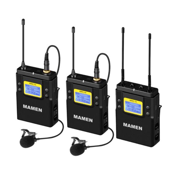 Duplo Microfone Lapela Wireless Mamen WMIC-01 Duplo Canal UHF com 2 Transmissores e 1 Receptor P2