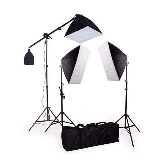 Kit de Iluminação Greika PK-SB03 para Estúdio Fotográfico 220V